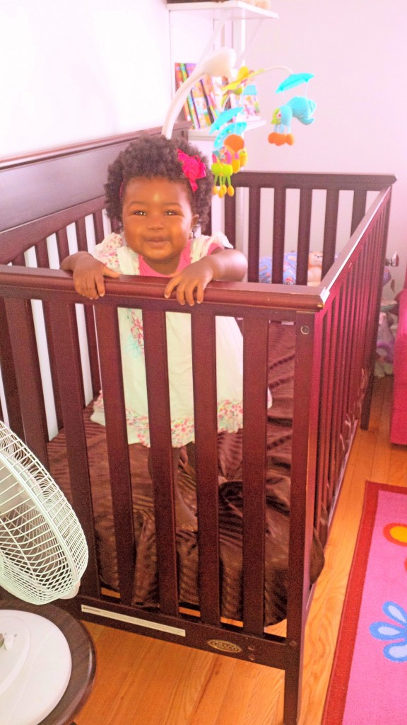 Baby Zuri in her crib