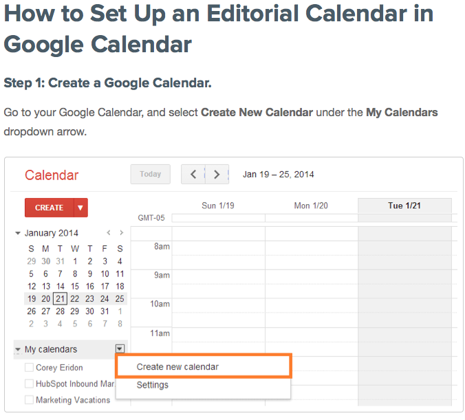 How To Set Up An Editorial Calendar For Free Using Google via Hubspot