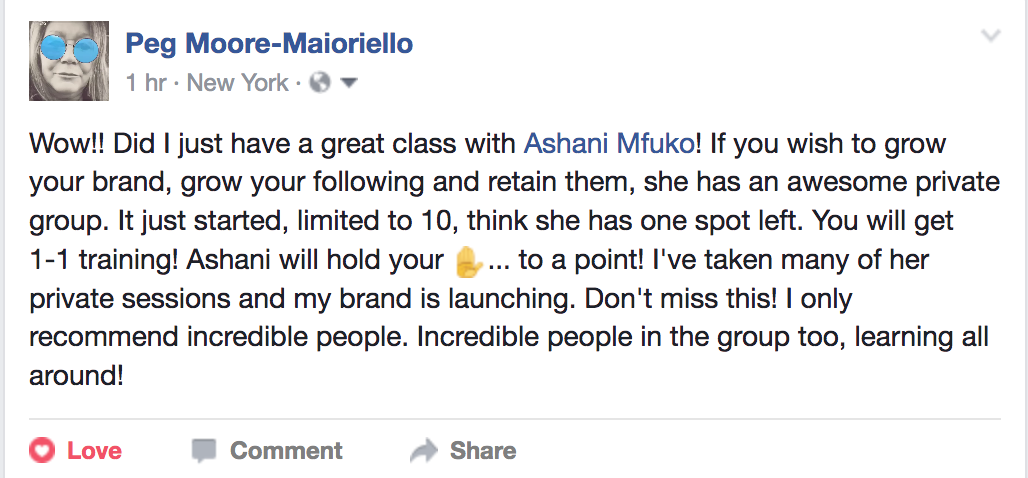 Ashani Mfuko Small Group Coaching Testimonial