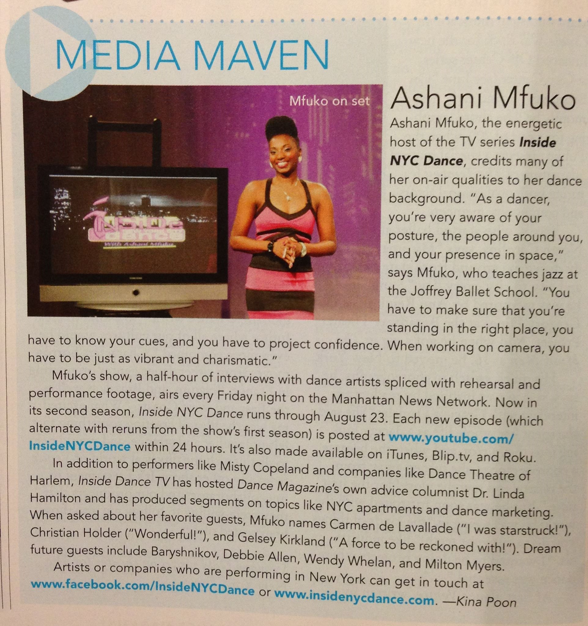 I'm Featured In the August 2013 Issue of Dance Magazine (Pg. 56)!