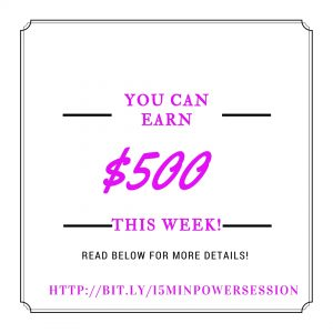 If you're serious about earning an additional $500 this week, and want my help to make that happen, using social media, and other options that are available to you, using the internet, claim your 15-minute session with me today!