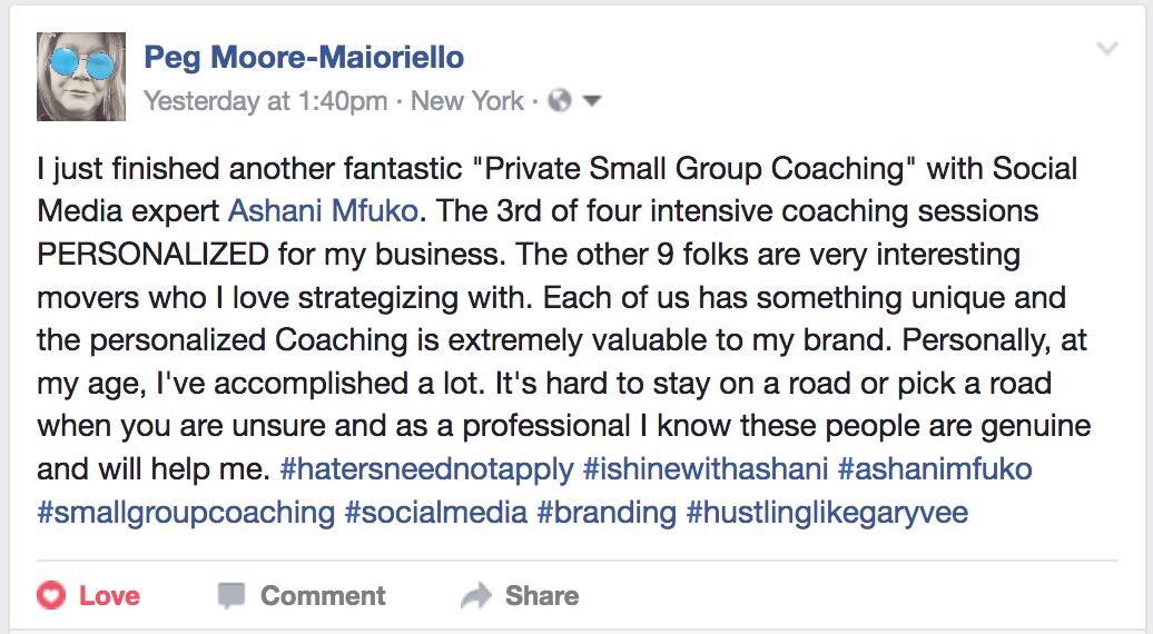 Small Group Coaching with Ashani Mfuko Testimonial